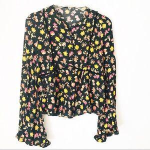 Zara Floral Peasant Peplum Bell Sleeve Blouse